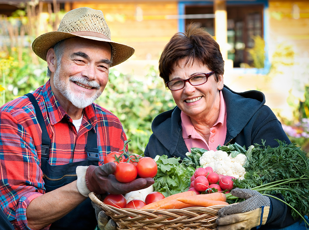 Couple with some organic produce